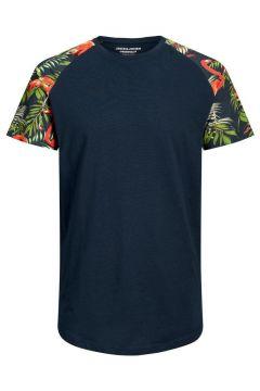 JACK & JONES Blocktryckt T-shirt Man Blå(112240282)