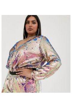 TFNC Plus - Bodysuit mit Wickeldesign vorne und mehrfarbigen Pailletten - Mehrfarbig(91278970)