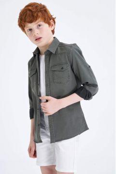 DeFacto Erkek Çocuk Kolu Katlanabilir Jean Gömlek(119060903)
