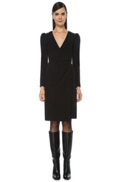 Red Valentino Kadın Siyah V Yaka Uzun Kol Midi Anvelop Elbise 42 IT(118330380)