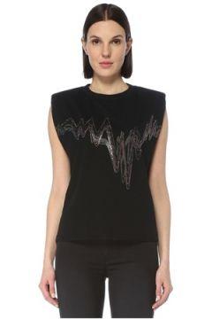 Allsaints Kadın Siyah Bisiklet Yaka Baskılı Kolsuz T-shirt S EU(126795847)