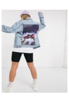 Criminal Damage x Back To The Future - Giacca di jeans con stampa con Delorean sul retro-Blu(120390079)