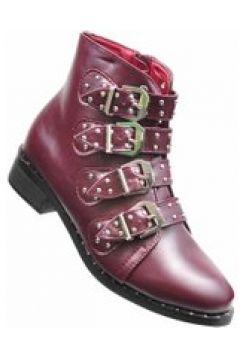 Pantofelek24.pl | Rockowe botki z klamerkami BORDOWE(112082445)