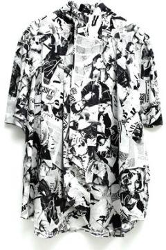 Balenciaga Kadın Siyah Beyaz Desenli Kısa Kol İpek Gömlek 36 FR(114438662)
