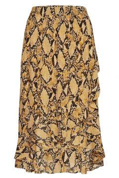 Snake Midi Skirt Knielanges Kleid Gelb SECOND FEMALE(114163800)