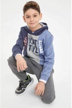 DeFacto Erkek Çocuk Baskılı Renk Bloklu Kapüşonlu Sweatshirt(125923400)