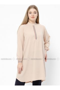 Beige - Crew neck - Plus Size Tunic - SUEM(110315231)