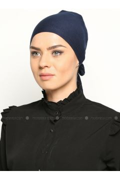 Tie Back Bonnet - Navy Blue - Busra Anil(110343612)
