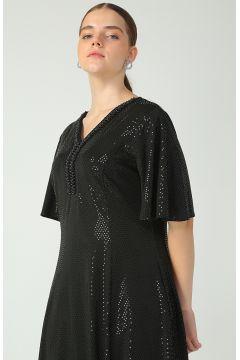 Selen Siyah Yakası Taşlı Elbise(126400127)