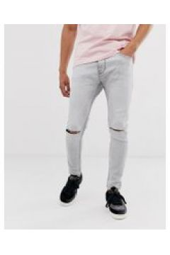 Bershka - Superenge Jeans in verwaschenem Grau - Grau(94798467)
