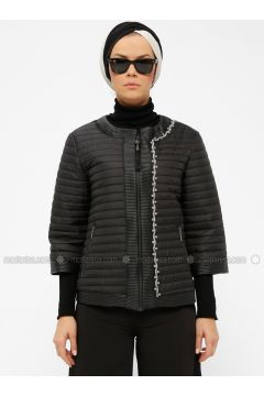 Black - Fully Lined - Crew neck - Puffer Jackets - Miorespiro(110335496)