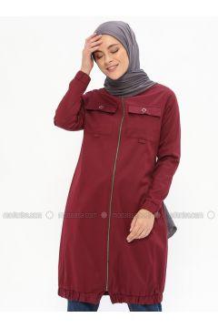 Plum - Unlined - Polo neck - Cotton - Trench Coat - Beha Tesettür(110319634)