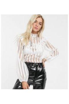 Reclaimed Vintage Inspired - Blusa trasparente accollata-Bianco(120374492)