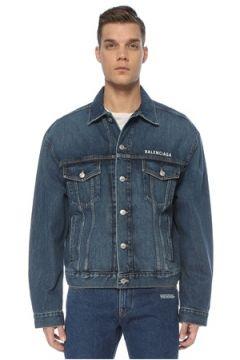 Balenciaga Erkek Large Fit Logo Baskılı Jean Ceket Mavi 46 IT(122892857)
