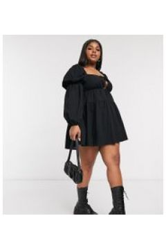 In The Style Plus x Lorna Luxe - Vestito grembiule corto con allacciatura nero(121981251)