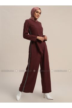 Maroon - Unlined - Crew neck - Cotton - Jumpsuit - Refka(110313183)