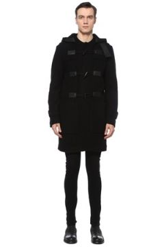 Dolce&Gabbana Erkek Siyah Kapüşonlu Düğme Detaylı Yün Kaban 46 IT(123516471)