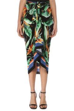 Dolce&Gabbana Kadın Tropikal Desenli Beli Bağcıklı Midi İpek Etek 38 IT(117771973)