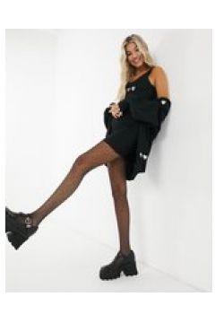 Heartbreak - Vestito con spalline sottili in maglia nero con ricamo a cuori in coordinato(122876958)