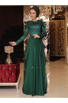 Green - Fully Lined - Crew neck - Muslim Evening Dress - Selma Sarı Design(110332907)