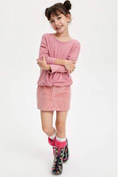 DeFacto Kız Çocuk Basic Kısa Kadife Etek(125917457)