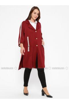 Maroon - Shawl Collar - Unlined - Plus Size Jacket - CARİNA(110320130)