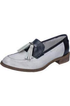 Chaussures Crown mocassins blanc cuir bleu BZ936(115399266)