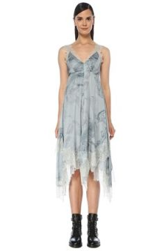 Allsaints Kadın Skylar Hatsukoi Mavi V Yaka Midi Saten Elbise 2 US(118060082)