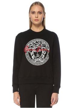 Versace Kadın Siyah Logo Baskılı Sweatshirt 38 IT(123608366)