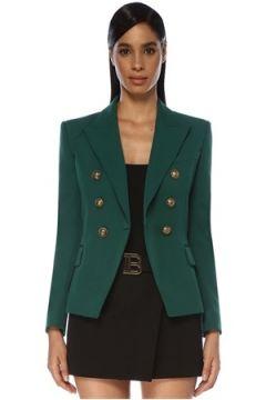 Balmain Kadın Yeşil Kırlangıç Yaka Kruvaze Yün Ceket 36 FR(119785483)