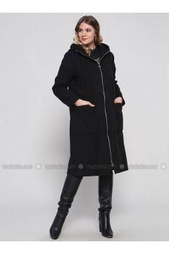 Black - Fully Lined - Plus Size Overcoat - Alia(110316729)