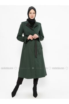 Green - Emerald - Fully Lined - Shawl Collar - Topcoat - Tekbir(110335686)