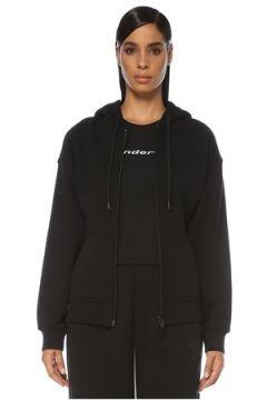 T by Alexander Wang Kadın Siyah Kapüşonlu Fermuarlı Sweatshirt S EU(121108367)