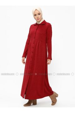 Maroon - Unlined - Round Collar - Viscose - Topcoat - ZENANE(110315510)