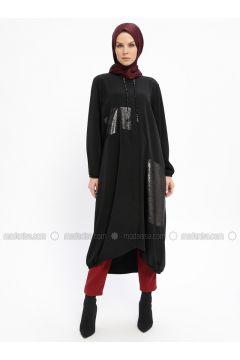 Black - Unlined - Crew neck - Topcoat - Emsale(110319081)
