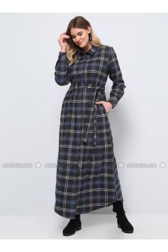 Gray - Plaid - Unlined - Point Collar - Cotton - Plus Size Dress - Alia(110330274)