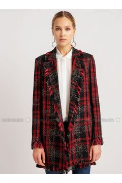 Red - Black - Multi - Viscose - Acrylic - Coat - NG Style(110341260)