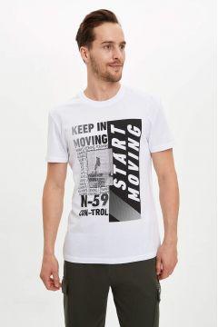 DeFacto Erkek Baskılı Bisiklet Yaka Sporcu T-shirt(119061589)
