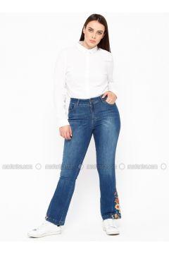 Blue - Cotton - Denim - Plus Size Pants - RMG(110322974)