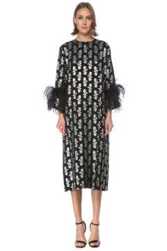 6Arlington Kadın Siyah Silver Çiçekli Peluşlu Midi Kokteyl Elbise 0 US(122923123)