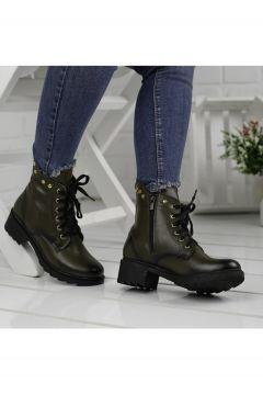 Ayakland 3883-851 Kadın Haki Günlük Fermuarlı Termo Cilt Bot Ayakkabı(121598981)
