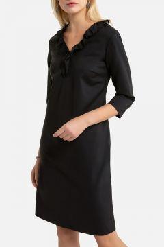 Vestido recto, largo medio, con manga larga(124516573)