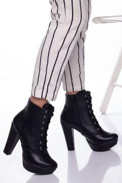 Ayakkabı Frekansı Kadın Siyah Cilt Topuklu Bot(121524751)