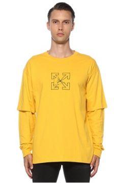 Off-White Erkek Sarı Siyah Logo Baskılı Uzun Kollu T-shirt S EU(120885486)