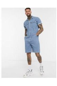 ASOS DESIGN - Tuta di jeans corta blu con tasche(120357122)