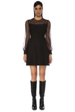 Valentino Kadın Siyah Dantel Garnili Balon Kol Mini Elbise 40 IT(119423313)