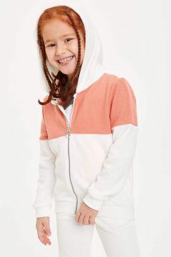 DeFacto Kız Çocuk Renk Bloklu Kapüşonlu Fermuarlı Hırka(119061414)