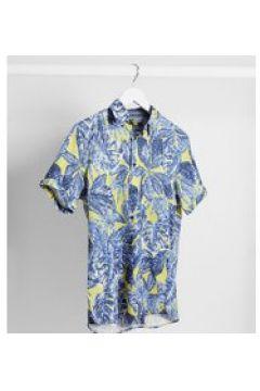 Ted Baker Tall - Camicia a maniche corte gialla con foglie di palme-Giallo(120260143)