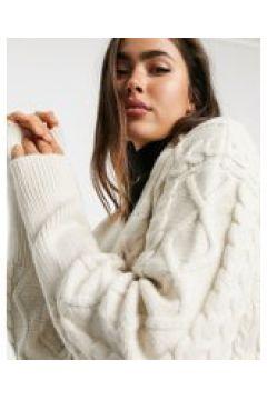 Fashion Union - Cardigan aderente allacciato in vita in maglia testurizzata-Crema(121435917)