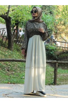 Brown - Cream - Multi - Crew neck - Unlined - Dresses - Fatma Aydın(110318270)